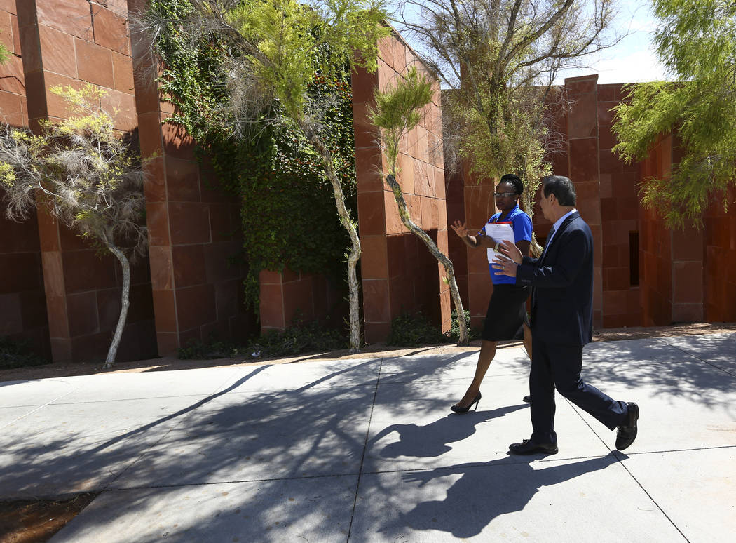 Dr. Federico Zaragoza, the newly appointed president of the College of Southen Nevada, tours the CSN West Charleston campus with Kimiko Walton, director of recruitment and college connections, dur ...