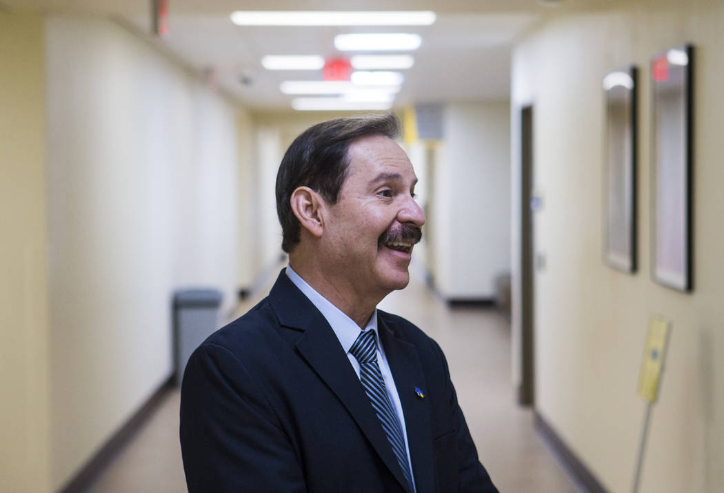 Dr. Federico Zaragoza, the newly appointed president of the College of Southen Nevada, tours the CSN West Charleston campus during his second day on the job in Las Vegas on Thursday, Aug. 16, 2018 ...