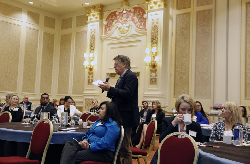 Daniel Braisted asks questions during the Las Vegas Metro Chamber of Commerce panel discussion on homelessness on Thursday, Aug. 23, 2018, in Las Vegas. (Bizuayehu Tesfaye/Las Vegas Review-Journal ...