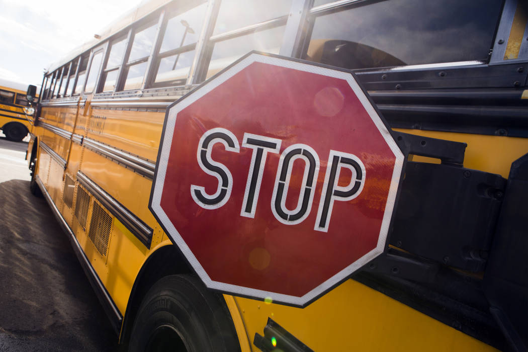 A decommissioned Clark County School District bus parked in the Northwest Bus Yard, CCSD, 10901 West Washburn Road on Monday, Jan. 23, 2017. (Jeff Scheid/Las Vegas Review-Journal)