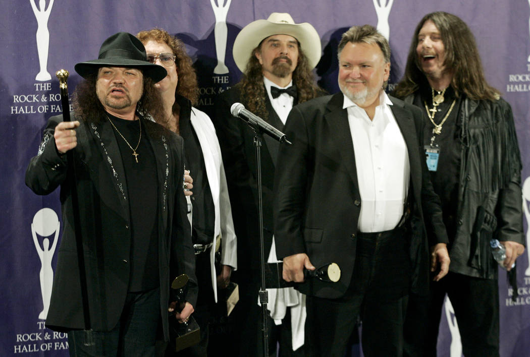 Members of Lynyrd Skynyrd, from left, Gary Rossington, Billy Powell, Artimus Pyle, Ed King and Bob Burns, appear backstage after being inducted at the annual Rock and Roll Hall of Fame dinner in N ...