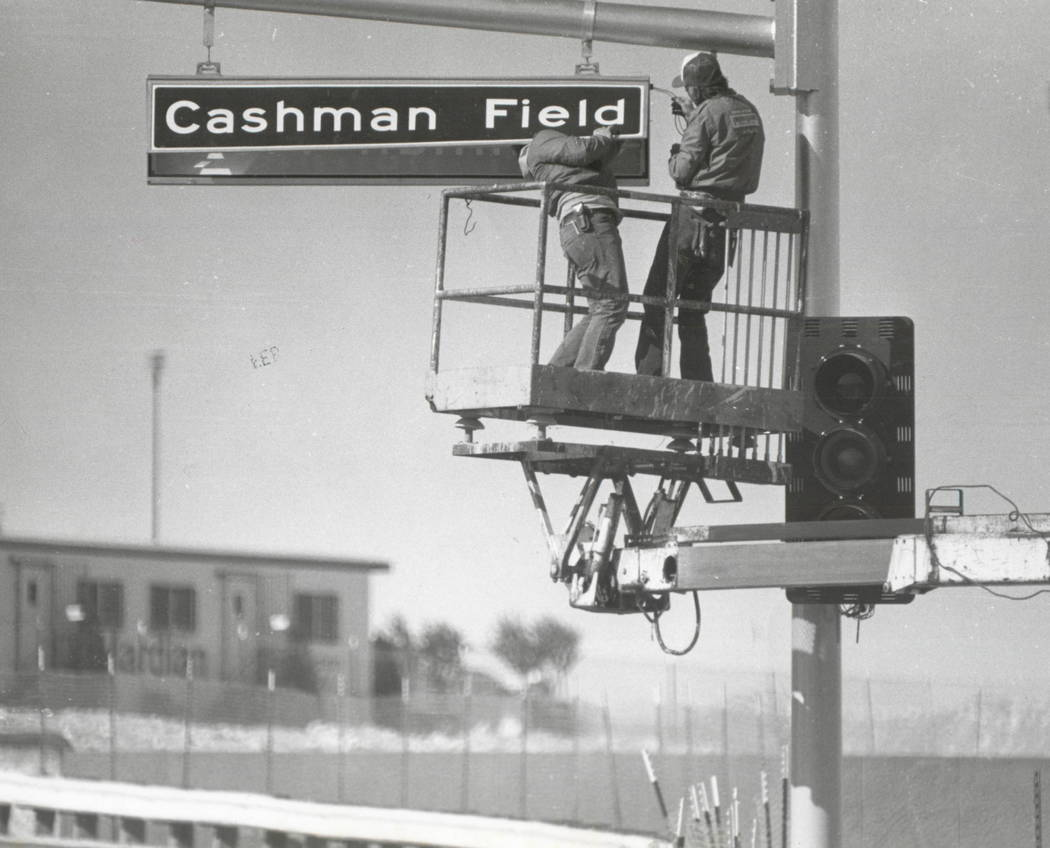 Review-Journal file photo Workers install a Cashman Field street sign on Las Vegas Boulevard North before the center opens in 1983.