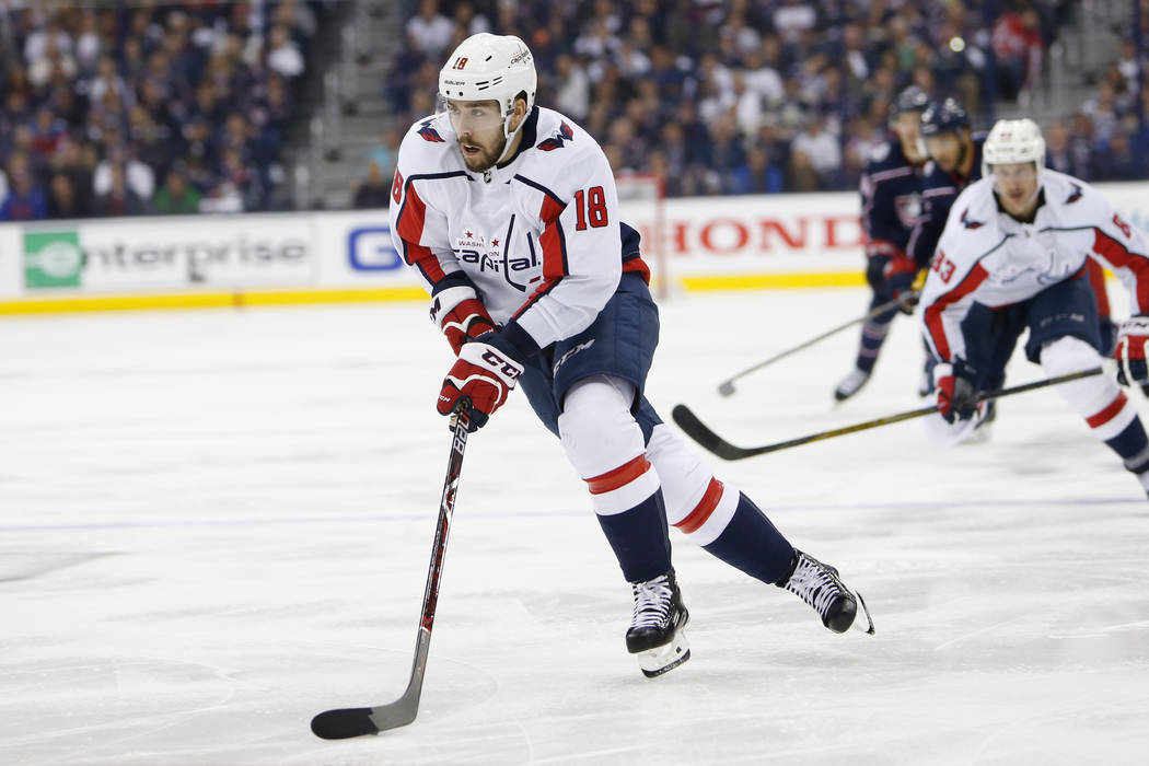 In this April 23, 2018, file photo, Washington Capitals' Chandler Stephenson plays against the Columbus Blue Jackets during Game 6 of an NHL first-round hockey playoff series in Columbus, Ohio. (A ...