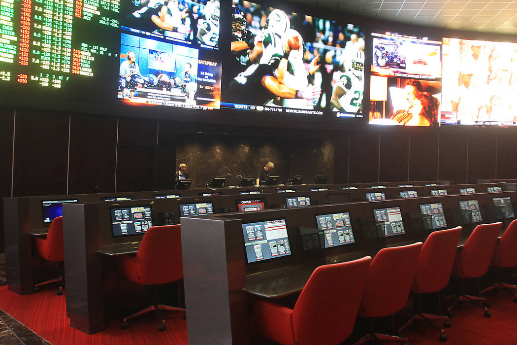 The seating and sports screens at the newly re-opened Palms hotel-casino Race and Sports Book photographed on Friday, May 4, 2012. (Jim Miller/Las Vegas Review-Journal)