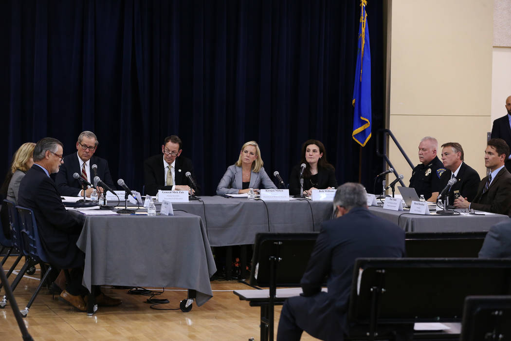 Secretary of the Department of Homeland Security Kirstjen M. Nielsen, center, attends a Federal Commission on School Safety Listening Session at the Miley Achievement Center in Las Vegas, Thursday ...