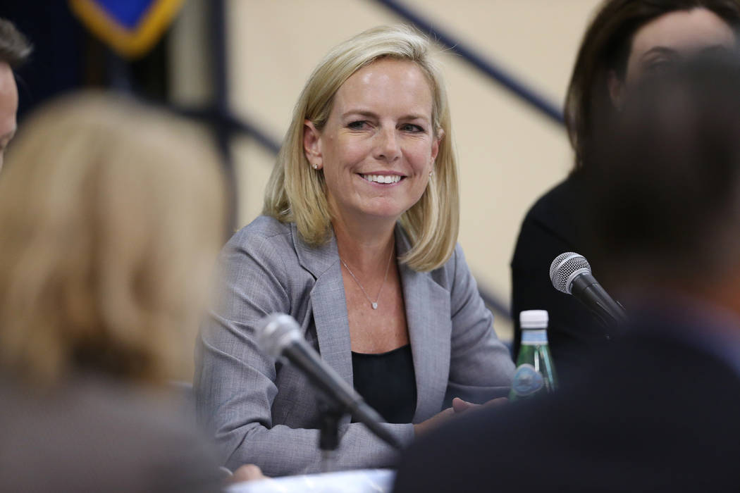 Secretary of the Department of Homeland Security Kirstjen M. Nielsen attends a Federal Commission on School Safety Listening Session at the Miley Achievement Center in Las Vegas, Thursday, Aug. 23 ...