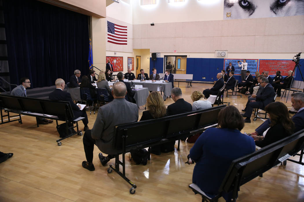 Officials attend a Federal Commission on School Safety Listening Session at the Miley Achievement Center in Las Vegas, Thursday, Aug. 23, 2018. Erik Verduzco Las Vegas Review-Journal @Erik_Verduzco