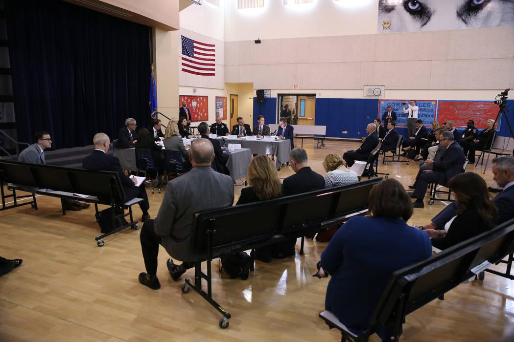 Officials attend a Federal Commission on School Safety Listening Session at the Miley Achievement Center in Las Vegas, Thursday, Aug. 23, 2018. Erik Verduzco Las Vegas Review-Journal @Erik_Verduzco