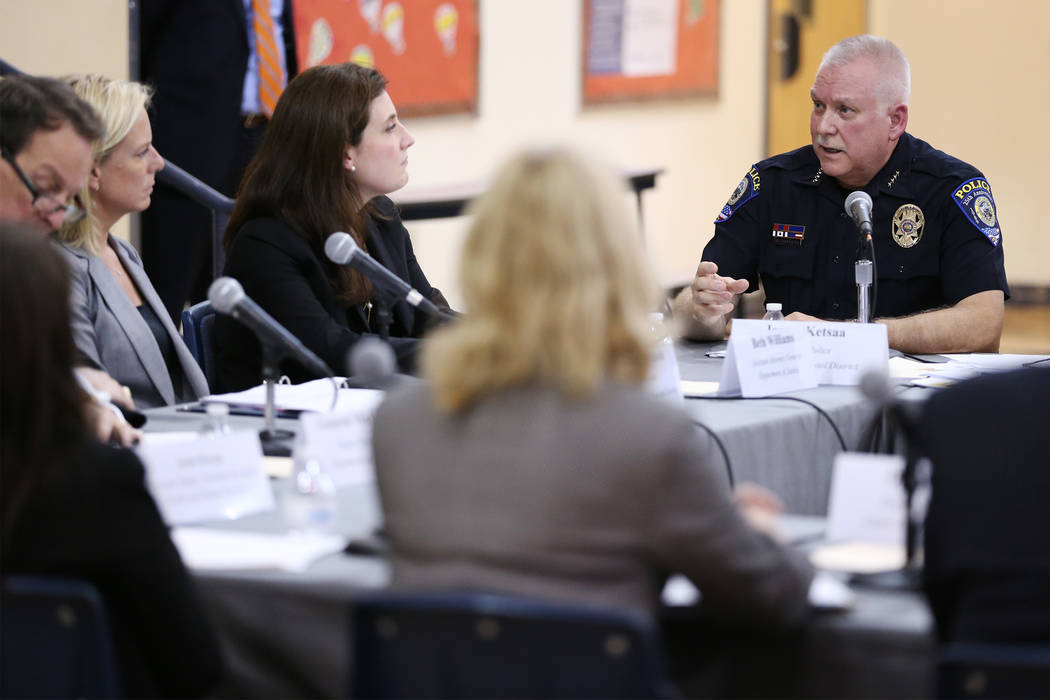 CCSD Chief of Police James Ketsaa, right, speaks during a Federal Commission on School Safety Listening Session at the Miley Achievement Center in Las Vegas, Thursday, Aug. 23, 2018. Erik Verduzco ...