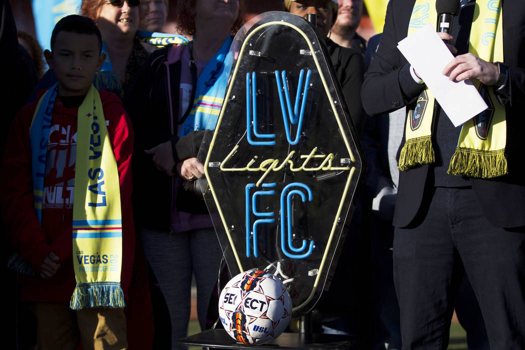 The Las Vegas Lights FC soccer team logo during an event to lay the first pieces of turf at Cashman Field to help transition the stadium from a baseball to a soccer venue, in Las Vegas, Wednesday, ...