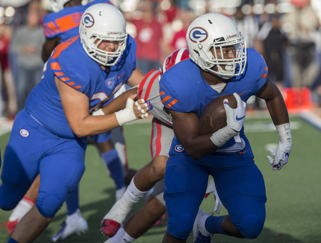 Bishop Gorman junior running back Zaiven Ragsdale (6) sprints down the sideline in the first quarter during the Gaels home matchup with Mater Dei on Friday, Aug. 24, 2018, at Bishop Gorman High Sc ...