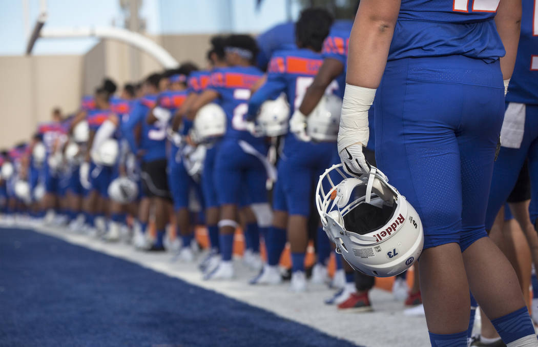 Bishop Gorman lines up for the national anthem before the start of the Gaels home matchup with Mater Dei on Friday, Aug. 24, 2018, at Bishop Gorman High School, in Las Vegas. Benjamin Hager Las Ve ...
