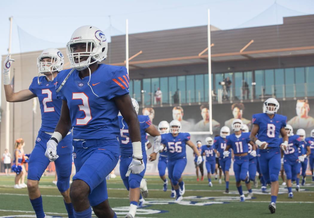 Bishop Gorman takes the field before the start of the Gaels home matchup with Mater Dei on Friday, Aug. 24, 2018, at Bishop Gorman High School, in Las Vegas. Benjamin Hager Las Vegas Review-Journa ...