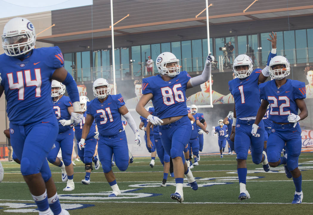 Bishop Gorman junior tight end Jimmy Petrie (86) fires up the crowd as the Gaels take the field before the start of their home matchup with Mater Dei on Friday, Aug. 24, 2018, at Bishop Gorman Hi ...