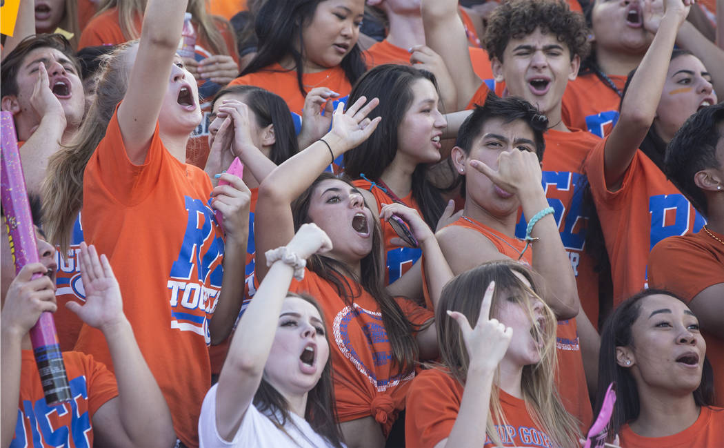 Bishop Gorman students cheer for the Gaels during their home matchup with Mater Dei on Friday, Aug. 24, 2018, at Bishop Gorman High School, in Las Vegas. Benjamin Hager Las Vegas Review-Journal @b ...
