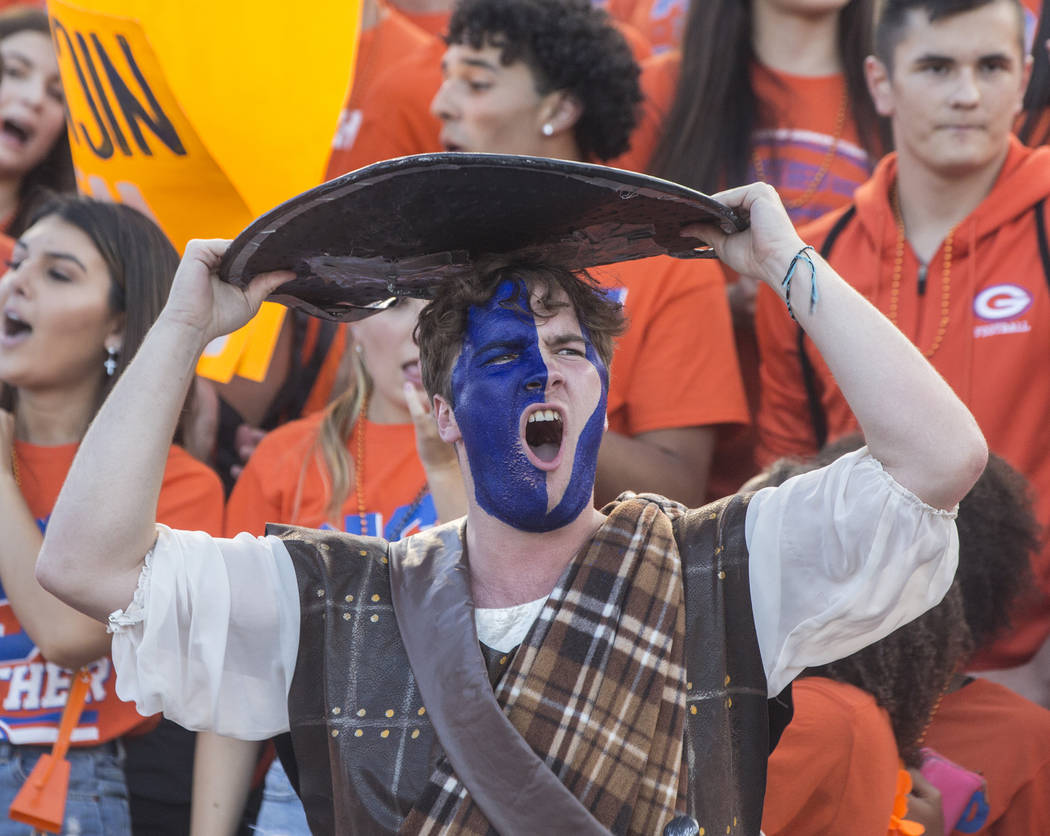 Bishop Gorman fan Anchor Brant reacts to an early score by visiting team Mater Dei on Friday, Aug. 24, 2018, at Bishop Gorman High School, in Las Vegas. Benjamin Hager Las Vegas Review-Journal @be ...