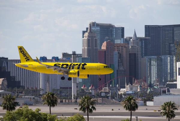 A Spirit Airlines flight prepares to land at McCarran International Airport in Las Vegas on Monday, July 23, 2018. (Richard Brian Las Vegas Review-Journal @vegasphotograph
