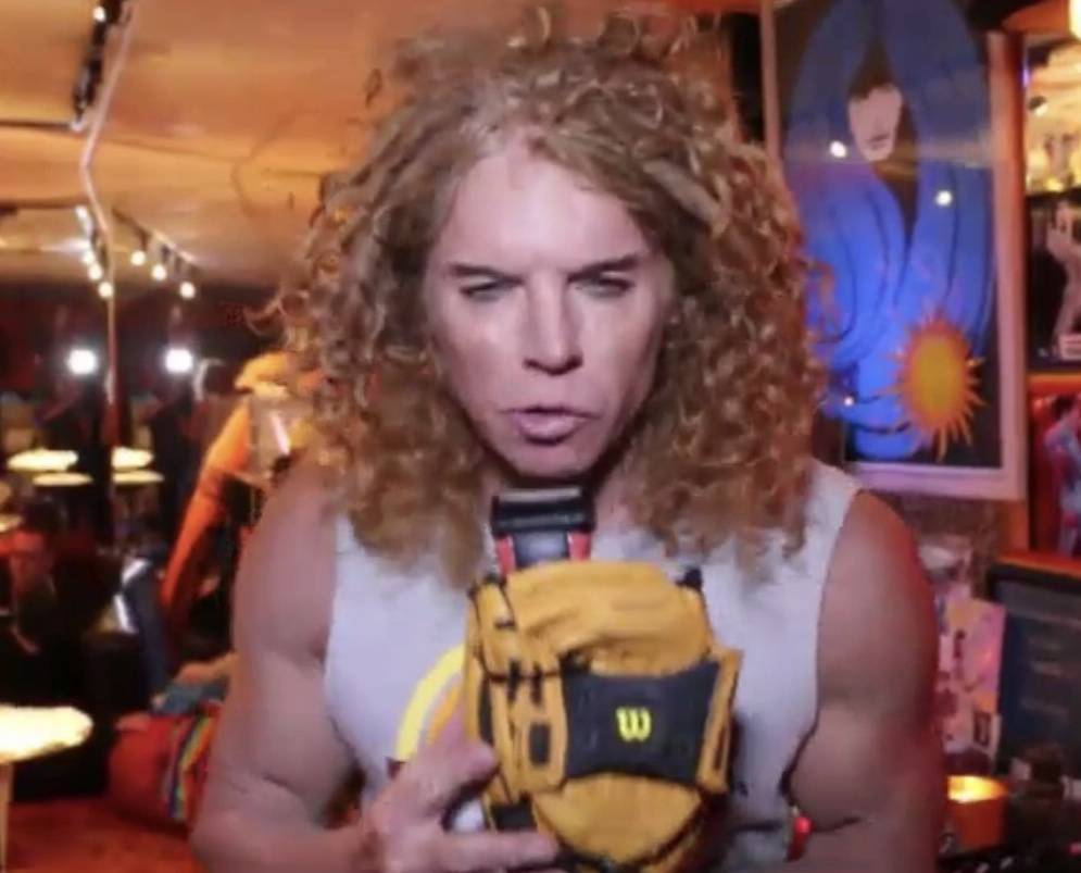 Luxor headliner Carrot Top shows his baseball glove/electric razor prop, inspired by the Little League World Series. (Carrot Top)