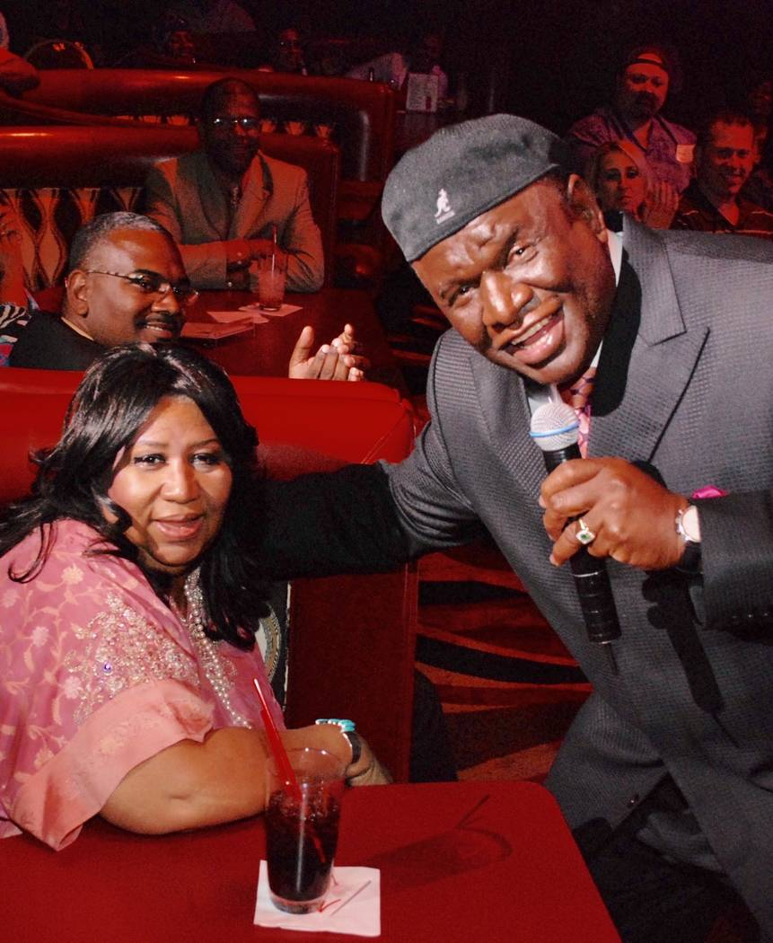 George Wallace is shown with Aretha Franklin are shown at Flamingo Las Vegas during one of Wallace's shows in 2014. (George Wallace)