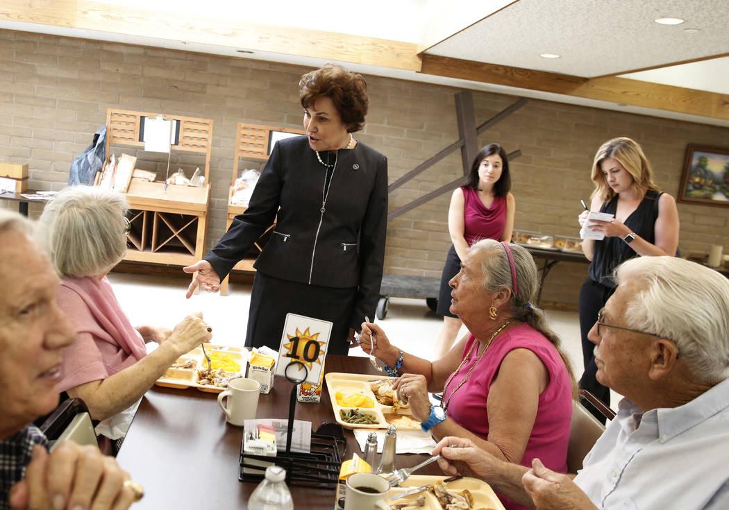 U.S. Rep. Jacky Rosen, D-Nev, talks to Cathrine Gray, left, and Lorraine Web at Senior Center of Boulder City on Thursday, Aug. 16, 2018. Bizuayehu Tesfaye/Las Vegas Review-Journal @bizutesfaye