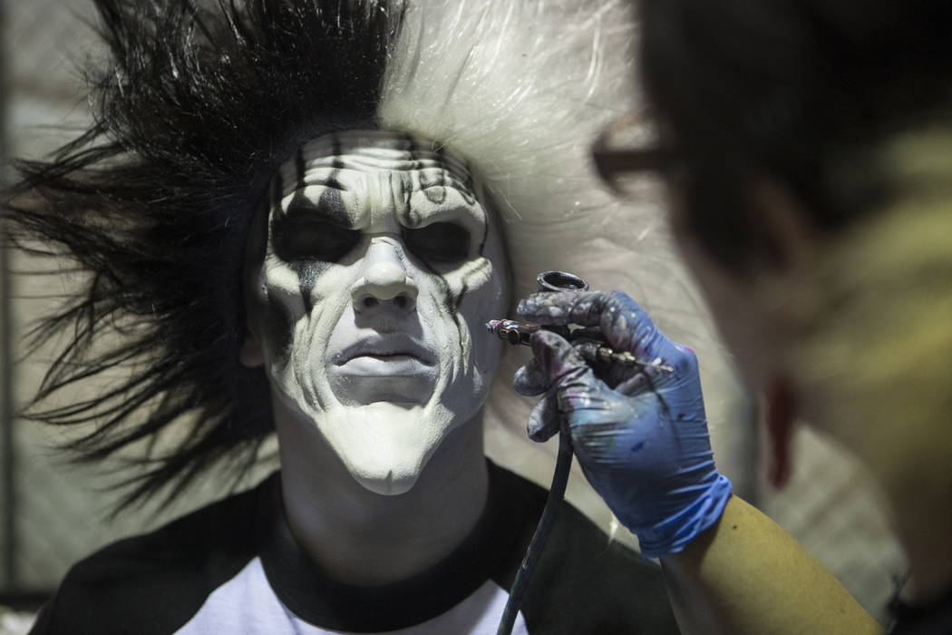 Jennifer Weaver, right, applies makeup on Christian Loeks for Fright Dome's dress rehearsal on Wednesday, Sept. 28, 2016, at Circus Circus hotel-casino in Las Vegas. Loren Townsley/Las Vegas Revie ...