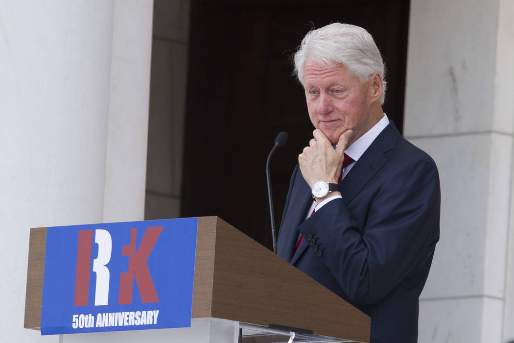 Former President Bill Clinton speaks during the Celebration of the Life of Robert F. Kennedy at Arlington National Cemetery in Arlington, Wednesday, June 6, 2018. (Cliff Owen/AP)