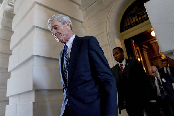 Former FBI Director Robert Mueller, the special counsel probing Russian interference in the 2016 election, departs Capitol Hill following a closed door meeting in Washington in June 2017. (AP Phot ...