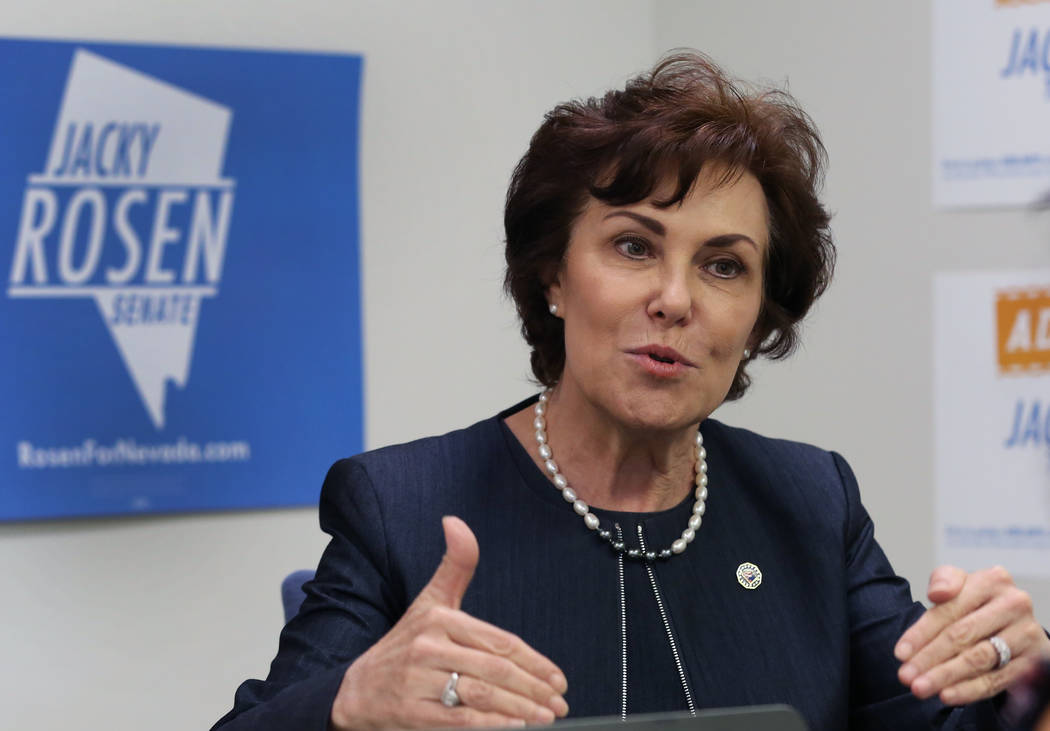 U.S. Rep. Jacky Rosen, D-Nev, speaks during an interview with the Las Vegas Review-Journal on Thursday, Aug. 16, 2018, in Las Vegas. (Bizuayehu Tesfaye/Las Vegas Review-Journal)