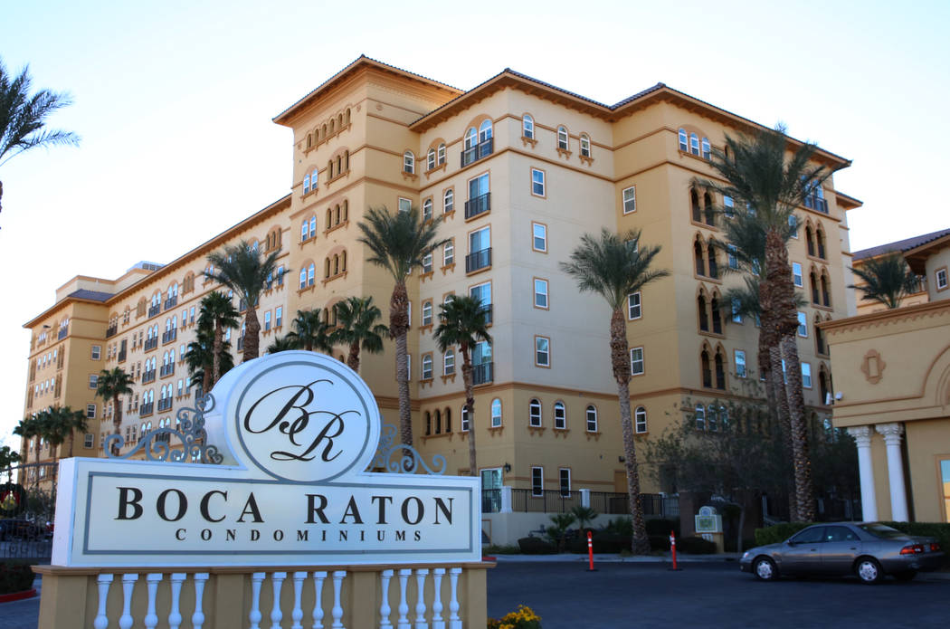 Boca Raton, a condo complex south of the Strip, at 2405 W. Serene Ave., photographed on Friday, Dec. 8, 2017, in Las Vegas. The 210 remaining unsold units in Boca Raton, a condo complex south of t ...