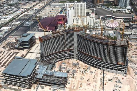 Construction continues on Resorts World Las Vegas on Wednesday, Aug. 22, 2018, in Las Vegas. Be ...