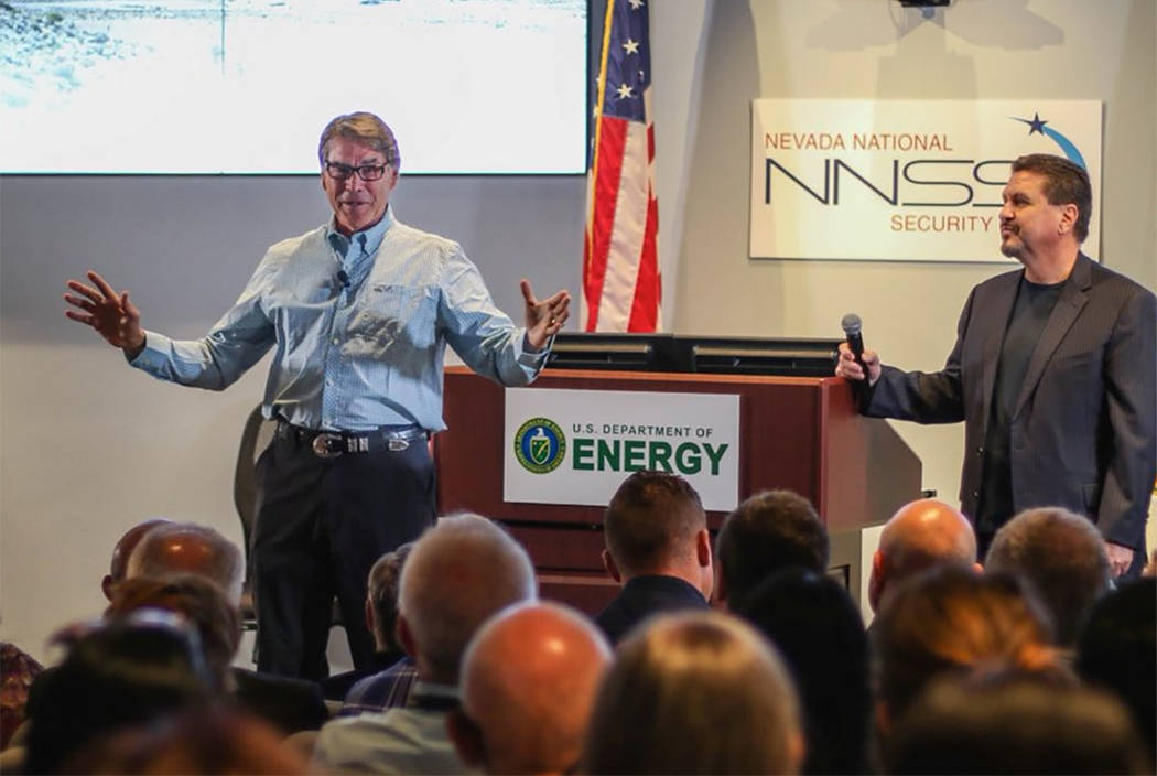 Energy Secretary Rick Perry talks to workers at the Nevada National Security Site. (from @SecretaryPerry on Twitter)