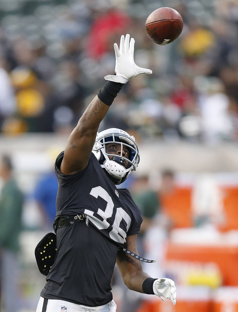 Oakland Raiders cornerback Dominique Rodgers-Cromartie (36) before an NFL preseason football game against the Green Bay Packers in Oakland, Calif., Friday, Aug. 24, 2018. (AP Photo/D. Ross Cameron)