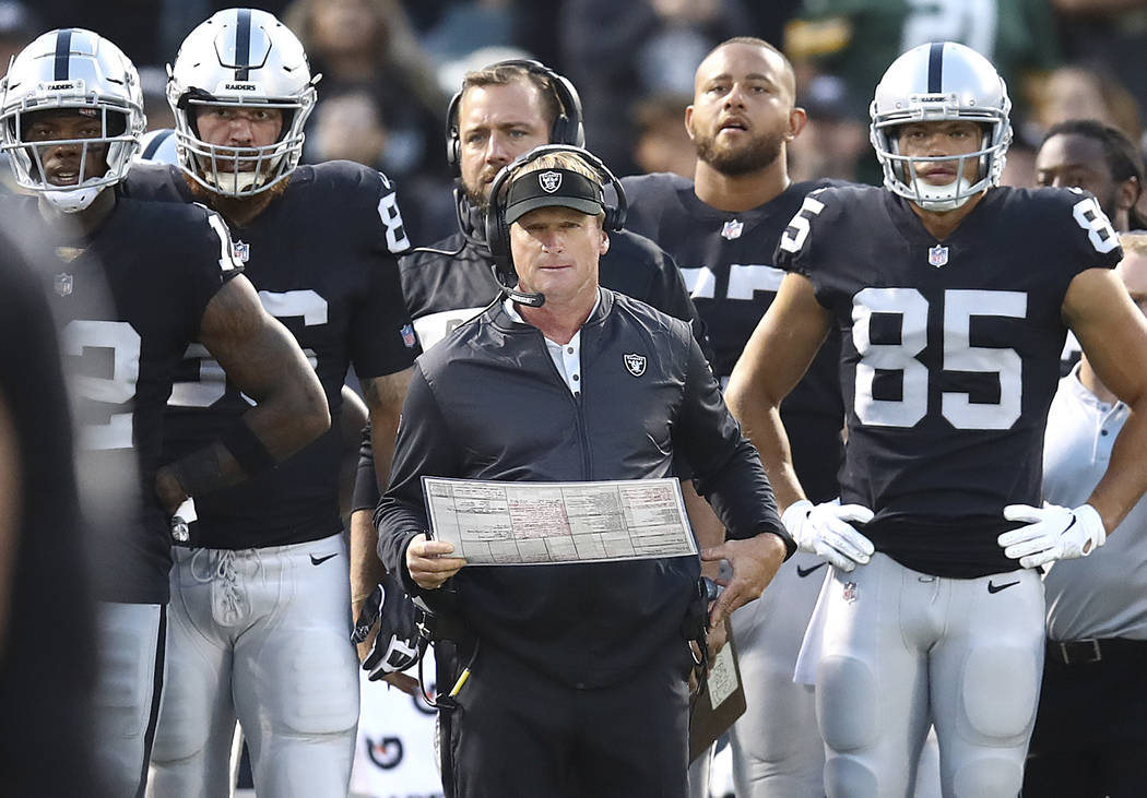 Oakland Raiders coach Jon Gruden, center, watches during the first half of the team's NFL preseason football game against the Green Bay Packers in Oakland, Calif., Friday, Aug. 24, 2018. (AP Photo ...