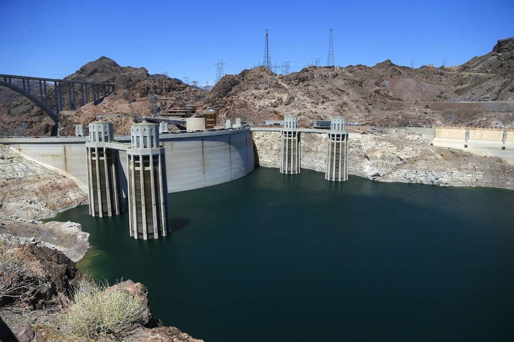The low level of the water line is shown on the banks of the Colorado River at the Hoover Dam on May 31, 2018. (AP Photo/Ross D. Franklin)