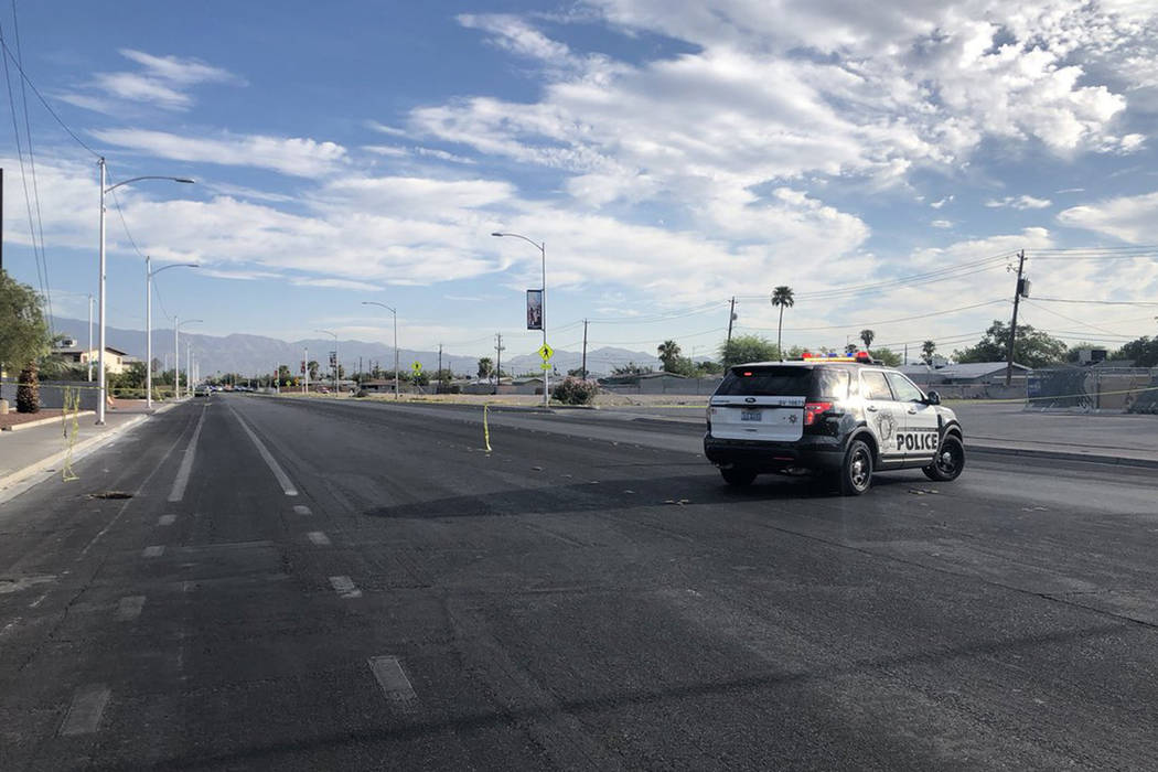 The Metropolitan Police Department is investigating an officer-involved shooting in the central Las Vegas Valley on Saturday morning. (Katelyn Newberg/Las Vegas Review-Journal)