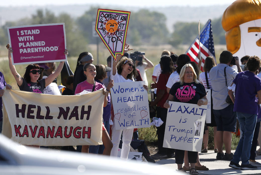 Counter protesters rally about a mile north of the 4th annual Basque Fry in Gardnerville, Nev., on Saturday, Aug. 25, 2018. Hosted by the Morning in Nevada PAC, the event is a fundraiser for conse ...