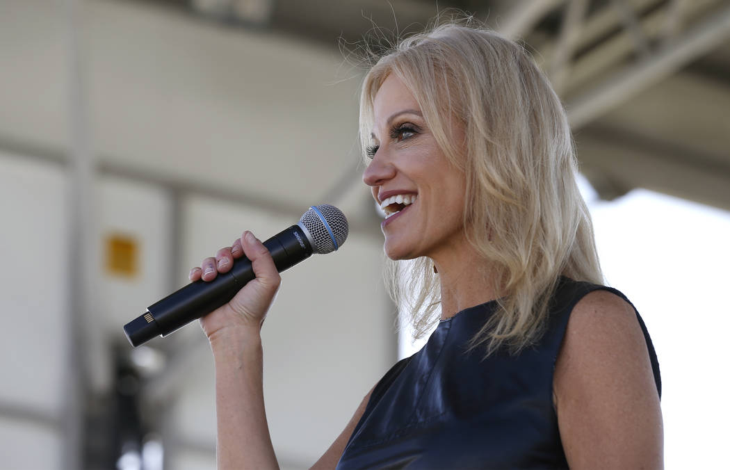 Kellyanne Conway speaks at the 4th annual Basque Fry in Gardnerville, Nev., on Saturday, Aug. 25, 2018. Hosted by the Morning in Nevada PAC, the event is a fundraiser for conservative candidates a ...