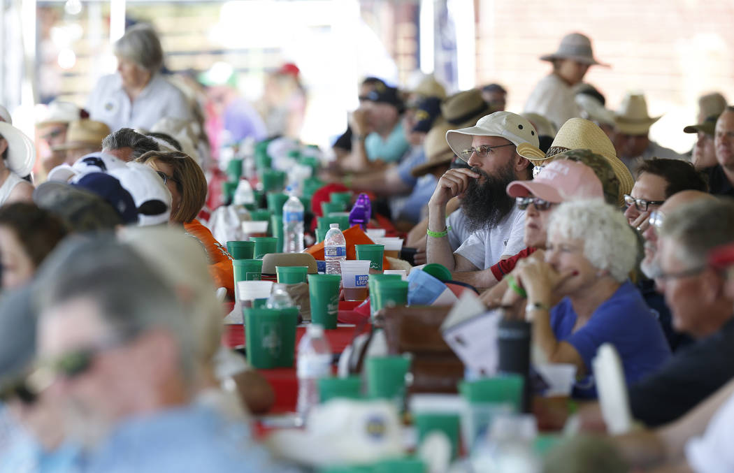 The crowd listens to speakers at the 4th annual Basque Fry in Gardnerville, Nev., on Saturday, Aug. 25, 2018. Hosted by the Morning in Nevada PAC, the event is a fundraiser for conservative candid ...