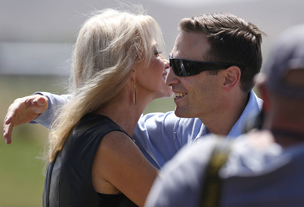 Kellyanne Conway hugs Nevada Attorney General Adam Laxalt following her speech at the 4th annual Basque Fry in Gardnerville, Nev., on Saturday, Aug. 25, 2018. Hosted by the Morning in Nevada PAC, ...