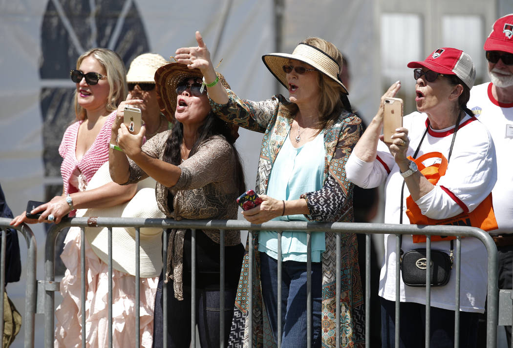 Supporters call to Kellyanne Conway following her speech at the 4th annual Basque Fry in Gardnerville, Nev., on Saturday, Aug. 25, 2018. Hosted by the Morning in Nevada PAC, the event is a fundrai ...