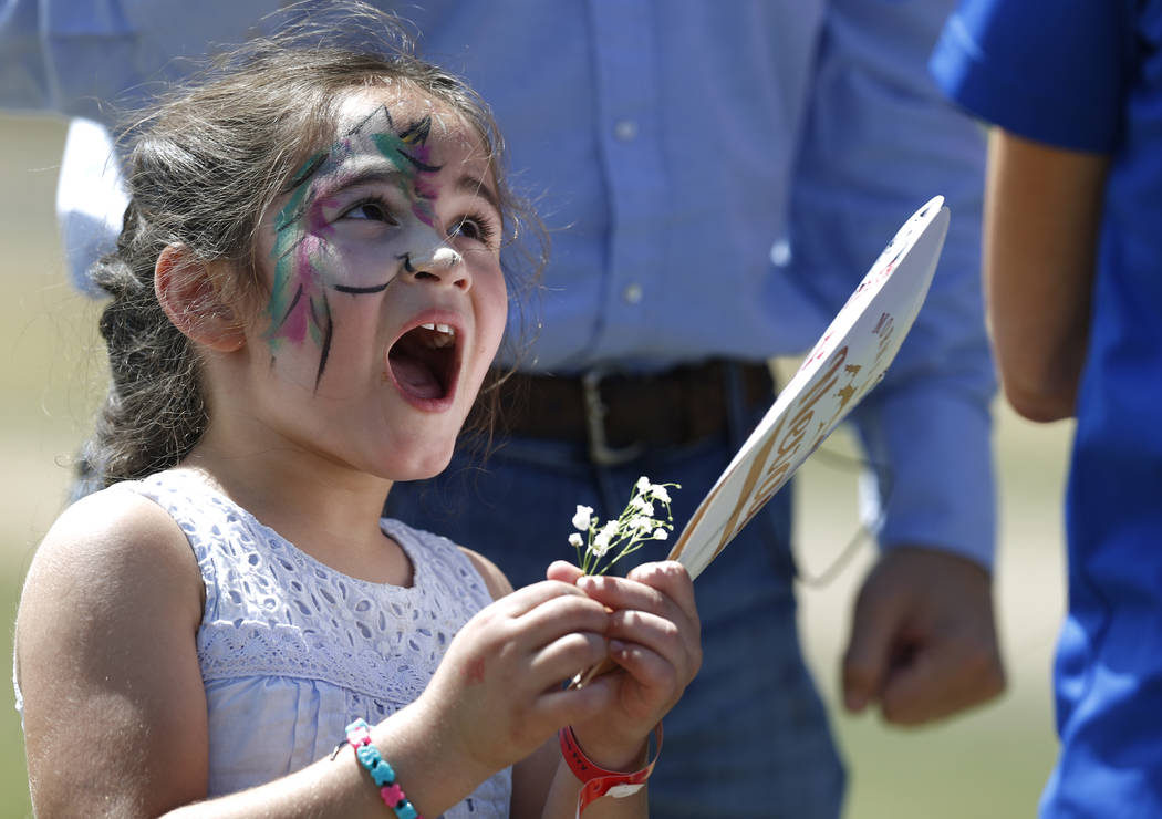 Nevada Attorney General Adam Laxalt's daughter Sophia, 5, plays at the 4th annual Basque Fry in Gardnerville, Nev., on Saturday, Aug. 25, 2018. Hosted by the Morning in Nevada PAC, the event is a ...