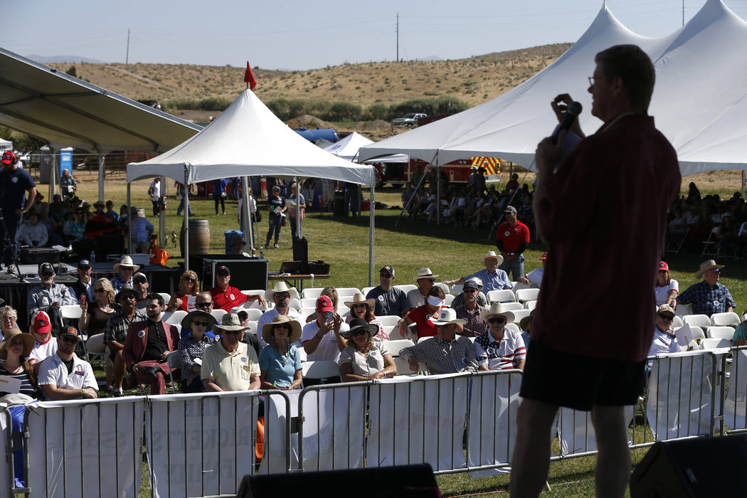 U.S. Rep. Mark Amodei speaks to the crowd at the 4th annual Basque Fry in Gardnerville, Nev., on Saturday, Aug. 25, 2018. Hosted by the Morning in Nevada PAC, the event is a fundraiser for conserv ...