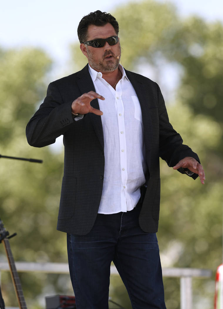 Former Navy SEAL Marcus Luttrell speaks at he 4th annual Basque Fry in Gardnerville, Nev., on Saturday, Aug. 25, 2018. Hosted by the Morning in Nevada PAC, the event is a fundraiser for conservati ...
