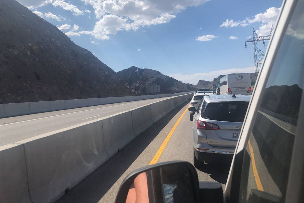 Traffic is stopped on the Hoover Dam bypass bridge on Saturday, Aug. 25, 2018. (screengrab from @FalynneDawson20 on Twitter)