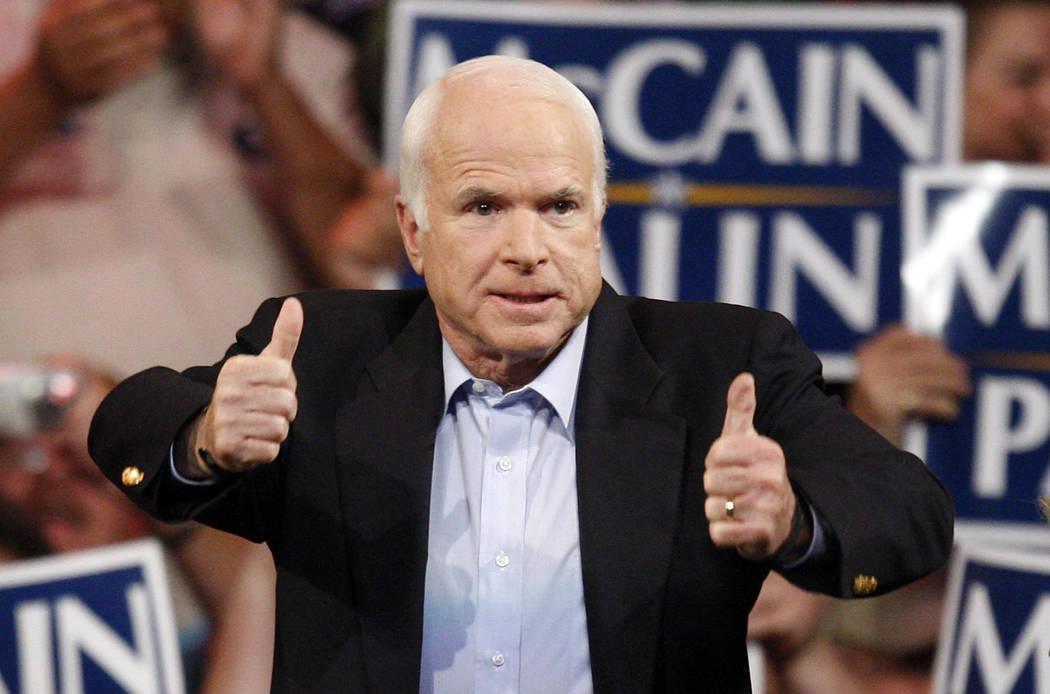 FILE - In this Nov. 3, 2008 file photo, Republican presidential candidate Sen. John McCain, R-Ariz., speaks during a rally in Henderson, Nev. McCain's family says the Arizona senator has chosen to ...