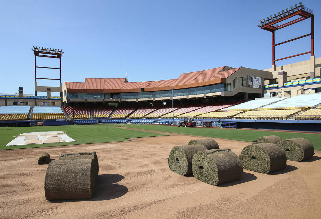 Rolls of sod sit as Cashman Field is converted from baseball to soccer use ahead of a Lights FC game in Las Vegas on Friday, Aug. 3, 2018. Chase Stevens Las Vegas Review-Journal @csstevensphoto