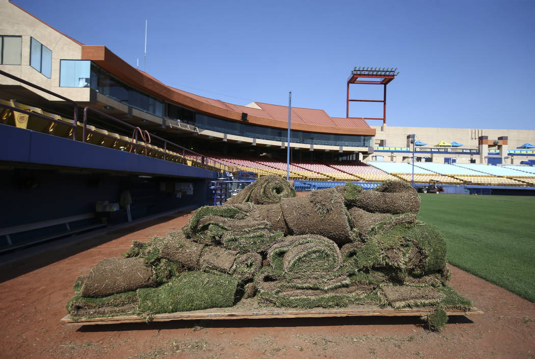 A pile of sod sits near the dugout as Cashman Field is converted from baseball to soccer use ahead of a Lights FC game in Las Vegas on Friday, Aug. 3, 2018. Chase Stevens Las Vegas Review-Journal ...