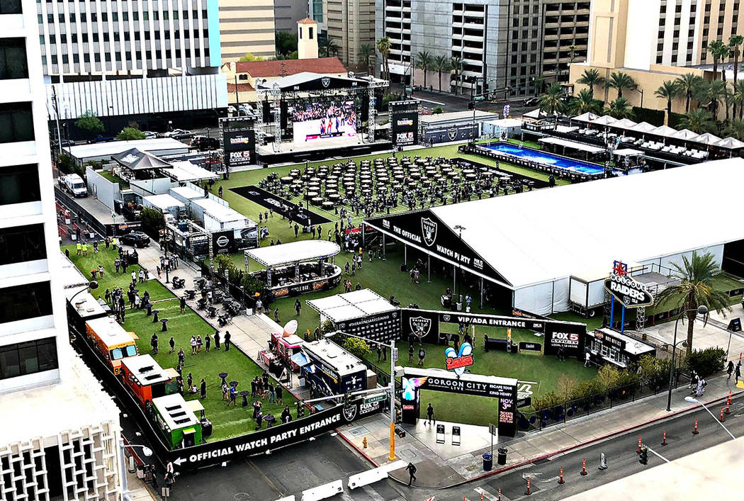 A look at the Official Raiders Watch Party at Downtown Las Vegas Event Center on Friday, Aug. 24, 2018. (The D Las Vegas)
