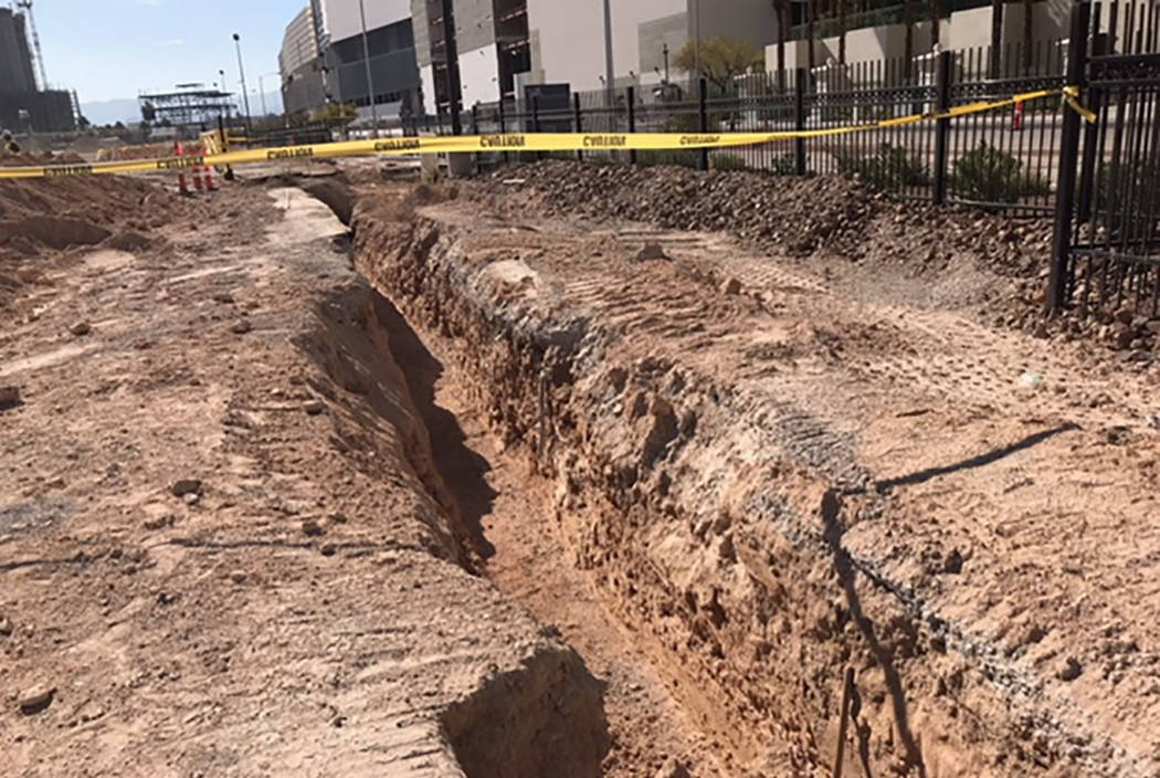 A construction trench is seen at the former site of the Riviera in Las Vegas on Aug. 25, 2018. (Courtesy of Clark County Fire Department)