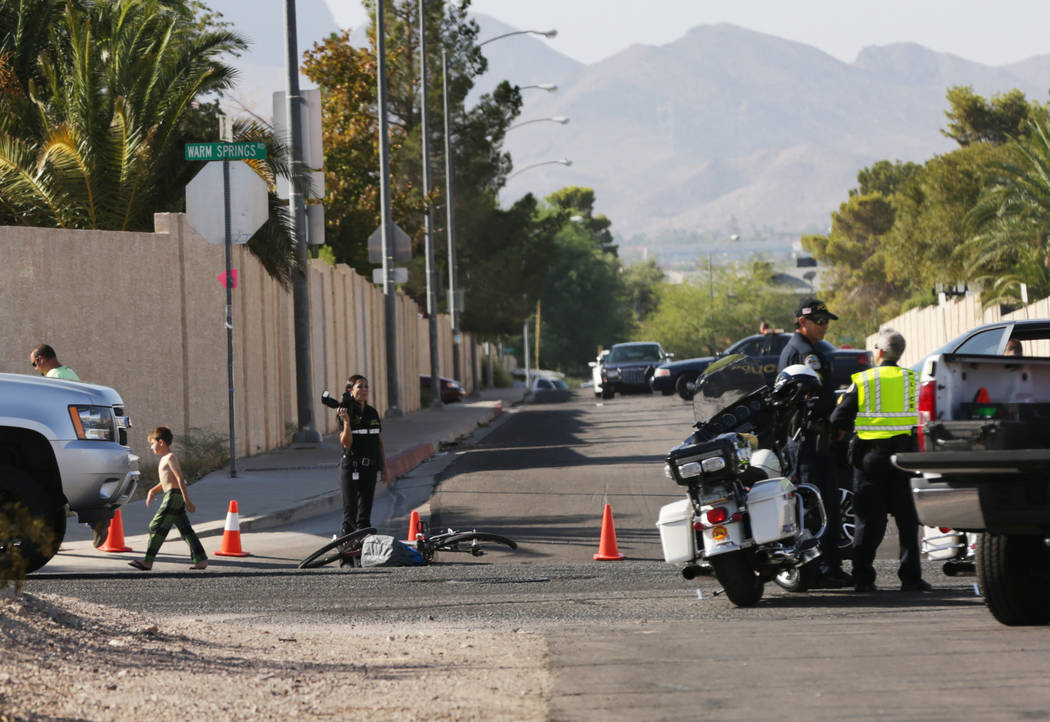 A juvenile was hospitalized after being hit by a truck near Emden Street and East Warm Springs Road in Henderson, Monday morning, Aug. 27, 2018. (Michael Quine/Las Vegas Review-Journal)